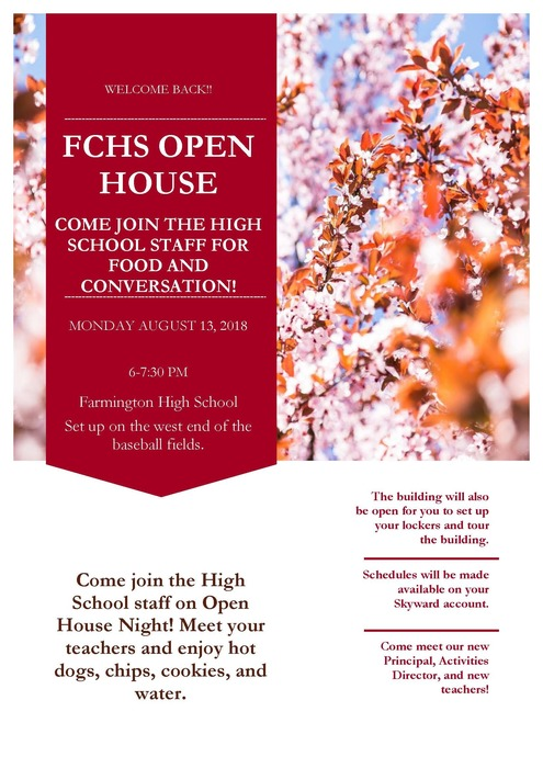 FCHS Open House on August 13.