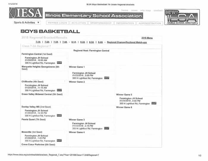 Boys 7th Grade Bball Regional Bracket