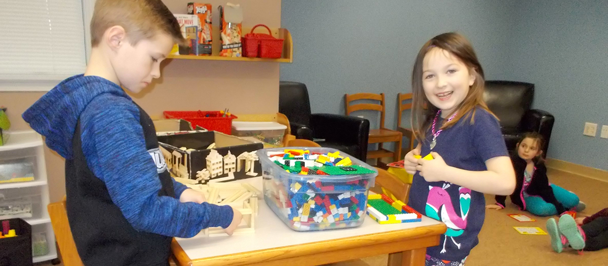 Students practice engineering with blocks